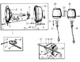 Elsőlámpa, kilóméteróra, fordulatszámmérő és villogótartók
