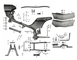 Váz hátsó lengővilla motorállvány lábfékkar SR4-2